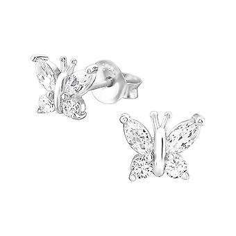 Бабочка - 925 стерлингового серебра кубического циркония уха шпильки - W21609x