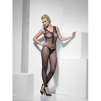 Smiffys Fishnet Body Stocking Black Lace Up Front Crotchless