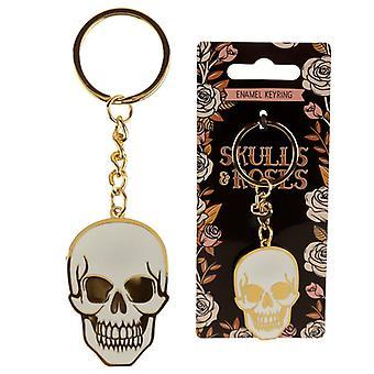 Skull & Roses Enamel Keyring by Puckator