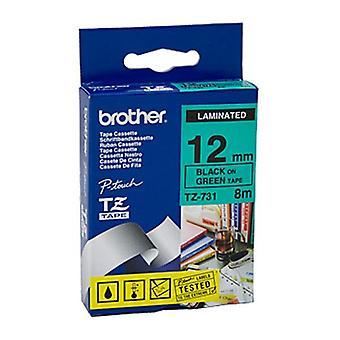 Brother TZe731 Labeling Tape musta vihreällä