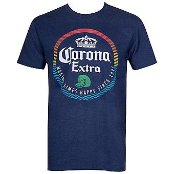 Corona Extra Beer Making Limes Happy Men-apos;s Blue T-Shirt