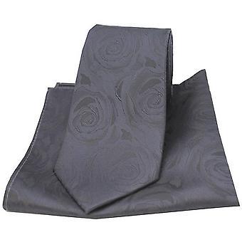 David Van Hagen Rose Wedding Matching Tie and Pocket Square Set - Grey