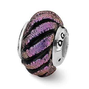 925 Sterling Silver finish Reflections Purple Swirl Dichroic Glass Bead Charm Pendant Necklace Jewelry Gifts for Women