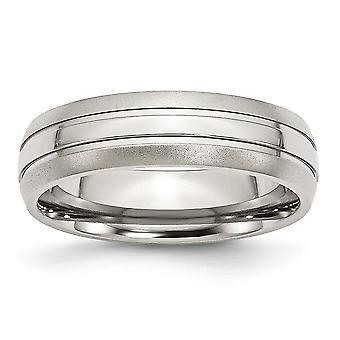 Rostfritt stål Engravable räfflad 6mm borstat och polerat Band Ring - Ring storlek: 6 – 13