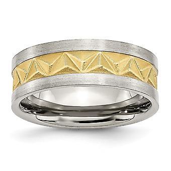 In acciaio inox satinato e oro-balenò scanalato spazzolato Engravable giallo placcato IP Mens 8mm banda anello - anello di dimensioni: 7 a