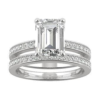14K White Gold Moissanite by Charles & Colvard 9x7mm Emerald Bridal Set, 2.92cttw DEW