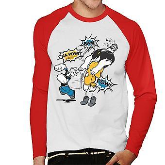 Popeye Brutus Fight Men's Baseball Long Sleeved T-Shirt