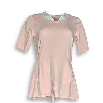 Isaac Mizrahi Live! Women's Top XXS Elbow Sleeve Peplum Pink A344795