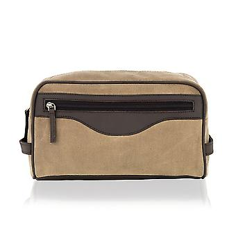 Beige Canvass And Brown Leather Wash Bag 11.0