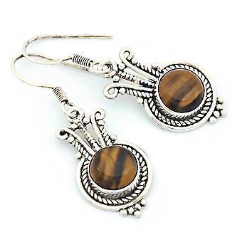 Boucles d'oreilles pour yeux de tigre 925 boucles d'oreilles argentées en argent sterling en argent brun (KLE-OH-154)