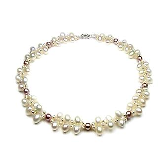 Women's necklace in Pearls of White culture and Lavender and Silver 925 5528