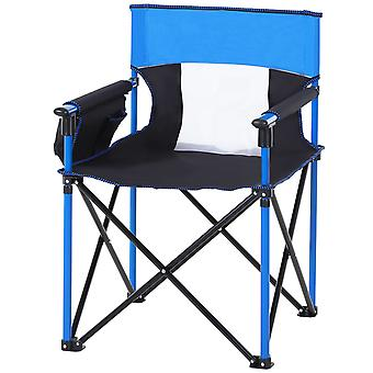 Outsunny Folding Camping Chair Portable Seat w/ Metal Frame Fabric Seat Cup Phone Holder Fishing Festival Football Hiking Outdoor Adventures Blue Black
