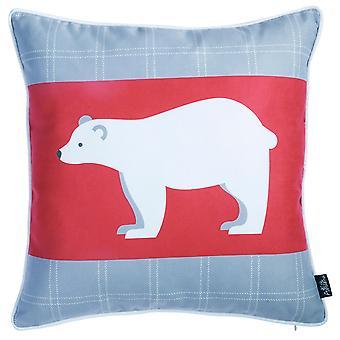 "18""x18"" Christmas Bear Printed Decorative Throw Pillow Cover"