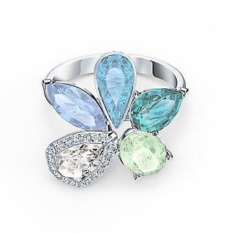 Swarovski Ring 5534931-silver m tal Ring Mix blå kristaller grön och vit kvinnor