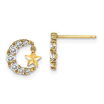 14k Madi K CZ Cubic Zirconia Simulated Diamond Crescent Celestial Moon With Sparkle Cut Star Dangle Post Earrings Measur