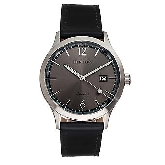 Heritor Automatic Becker Leather-Band Watch w/Date - Silver/Charcoal
