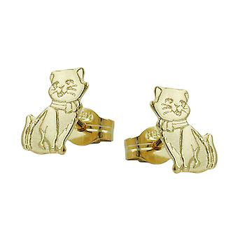 Earring studs plug cat cats part matted 8 kt 333 gold girl jewelry
