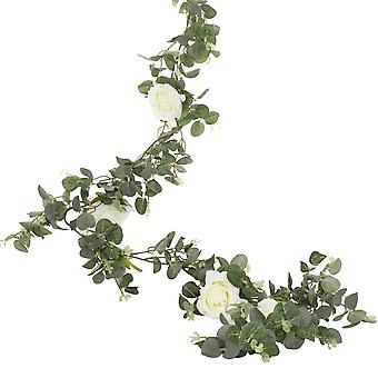 Artificial Eucalyptus Foilage Garland With White Roses -Wedding Décor