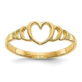 14k Gul Guld Solid Poleret Sparkle Cut Lukket tilbage for drenge eller piger Love Heart Ring Size 3