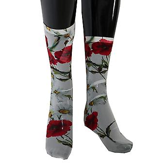 Dolce & Gabbana White Floral Red Roses Nylon Socks