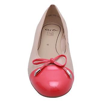 Ara Nude Low Heel Ballet Pump With Red Toe-cap