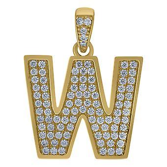 10kイエローゴールドメンズ女性キュービックジルコニアCZ文字名パーソナライズモノグラム初期Wチャームペンダントネックレス対策