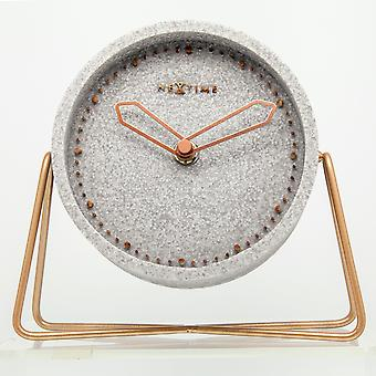 NeXtime-tafel klok – 17,5 x 15,5 x 5 cm-polyresin-grijs
