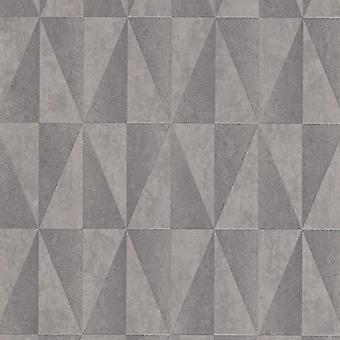 Erismann Triangle Pattern Stripe Motif Geometrischmetallic reliëf zilver behang