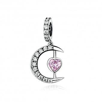 Sterling Silver hängande Charm Moon med rosa hjärta - 5470