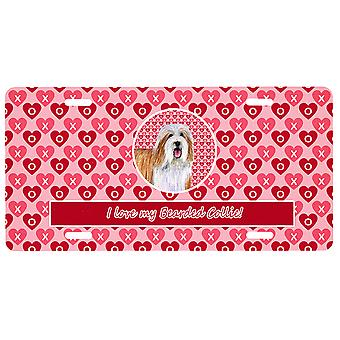 Carolines Treasures  LH9150LP Bearded Collie Valentine's Love and Hearts License