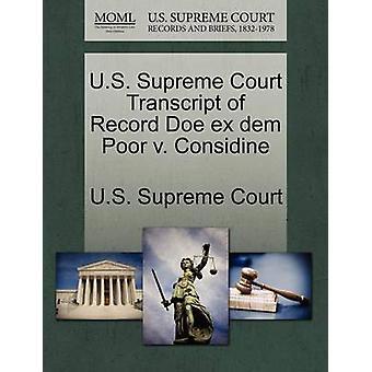 U.S. Supreme Court Transcript of Record Doe ex dem Poor v. Considine by U.S. Supreme Court