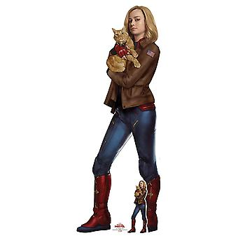 Carol Danvers with Goose the Cat from Captain Marvel Official Cardboard Cutout