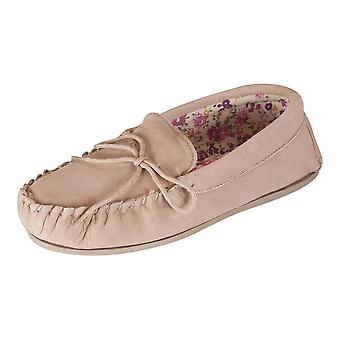 Nordvek Womens Sheepskin Slippers - Fabric Lined Moccasins - Non-Slip Hard Sole # 419-100