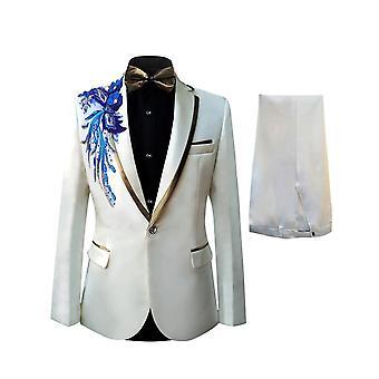 Allthemen miesten Tuxedo Suit paljetteja brodeerattu 2-kappaletta puvut mekko bleiseri housut