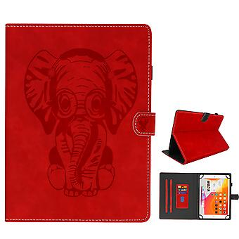 Elephant Flip Folio Case with Card Slots & Kickstand for 8 inch Tablet- Red