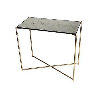Gillmore antiikkinen lasi pieni konsoli pöytä messinki rajat pohja