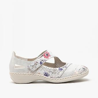 Rieker 41346-90 Ladies Leather Touch Fasten Shoes Off White/multi