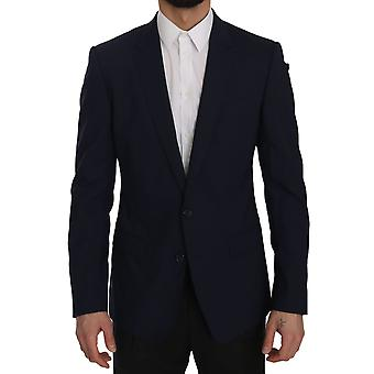 Dolce & Gabbana Blue MARTINI Slim Fit Wool Blazer Jacket