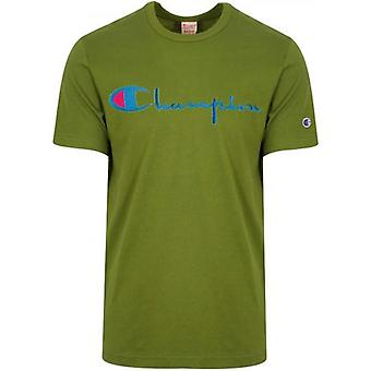 Champion Reverse Weave Green Big Script T-Shirt