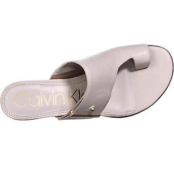 Calvin Klein Womens Daria Nappa Leather Split Toe Casual Slide Sandals