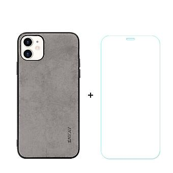 Voor iPhone 11 Case Fabric Texture Grey Cover & Tempered Glass Screen Protector