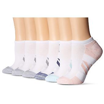 Essentials Women's 6-Pack Performance Puuvillapehmustetut Urheilulliset No-Show-sukat, Valkoinen, Kengän koko: 6-9