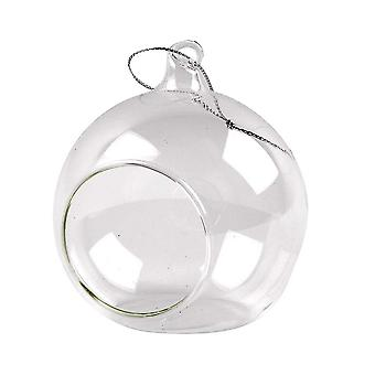 6 Clear 80mm Glass Open Front Christmas Bauble Ornaments for Tree Decoration