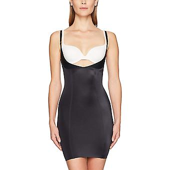 Arabella Women's Shine Open Bust Shapewear Slip, Black, Large