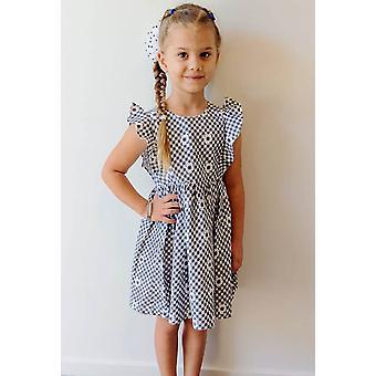 Mamino κορίτσι Elisa μαύρο λευκό φόρεμα Gingham