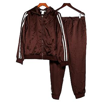 K Jordan Set w/ Front Zip Jacket & Elastic Waistband Pants Brown