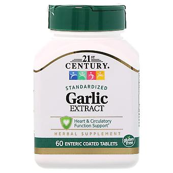21st Century, Garlic Extract, Standardized, 60 Enteric Coated Tablets