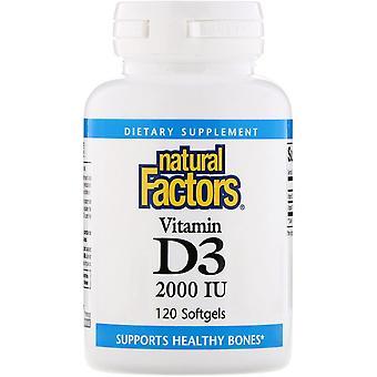 Natural Factors, Vitamin D3, 2000 IU, 120 Softgels