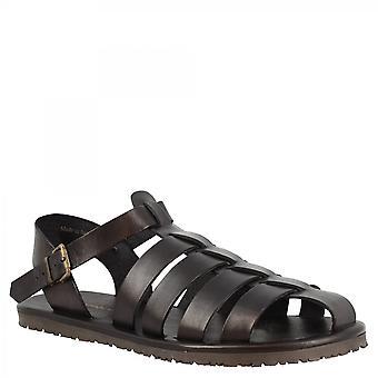 Leonardo Scarpe Men's sandali francescani fatti a mano in pelle di vitello nero con chiusura fibbia laterale