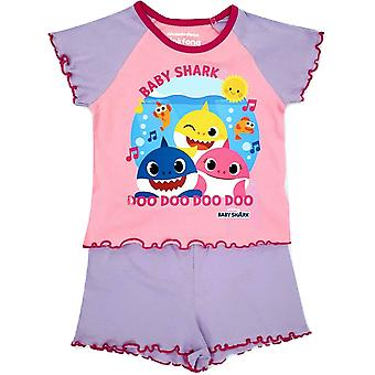 Baby Shark Flickor Shortie Pyjama Set